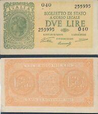 """2 LIRE """" ITALIA LAUREATA"""" DEC. 23 NOVEMBRE 1944 SPL+"""