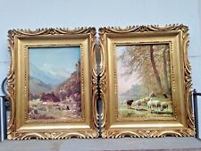 2x Bilderrahmen Gemälde Landschaft schwarzes schaf 33x28 BAROCK LEINWAND gold