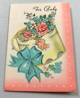 Vintage Baby Congratulations on Newborn 1950's Greeting Card Used Flowers
