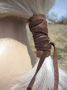 Leather Hair Ties Ponytail Holder Wrap Cuff BOHO Bohemian Clothing Jewelry Brown