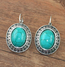 Cute New Tibetan Silver Turquoise Oval Shape Artesian Dangle Drop Earrings