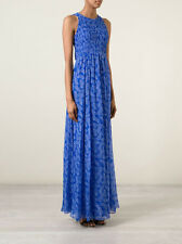 $698 DVF Diane von Furstenberg Silk Nirvana Maxi Dress in Blue Riveria Buds; 8