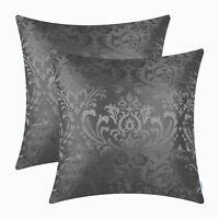 "2Pcs Dark Grey Cushion Covers Pillows Shells  Damask Florals Home Decor 18 X 18"""