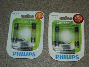 (2) NEW PACKS OF 2 PHILIPS LONGER LIFE 212-2 DOME LIGHT BULBS 212-2LLB2 12V