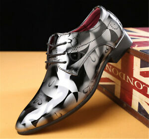 Men's Faux Leather Shoes Lace Up Floral Shoes Formal Wedding Office Dress Shoes