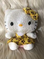 "TY Beanie Babies Sanrio 6"" Hello Kitty Plush with Yellow Dress Brown Paw Prints"