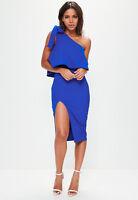 MissGuided Blue Crepe One Shoulder Bow Sleeve Midi Dress - Colbalt Blue - UK 10