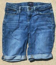 GAP Kids Girls Bermuda Roll Cuff Denim Jean Shorts Adjustable Waist SZ 10 Reg