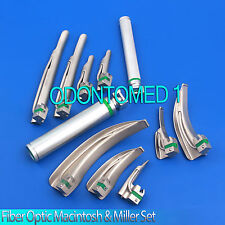 Fiber Optic Macintosh Amp Miller Combo Laryngoscope Set