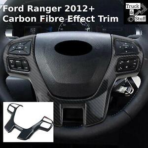 Carbon Fibre Effect Steering Wheel Cover Trim For Ford Ranger T6 2011+