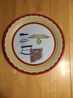 "Vintage Metal Tray 19"" Americana Patriotic Round Tray. Preowned."