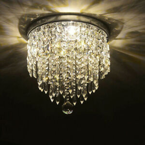 Modern Crystal Glass Round LED Ceiling Light Fixtures Flush Mount Chandelier