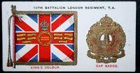 London Regiment   10th Battalion TA  Insignia  Original Vintage Card  ## VGC