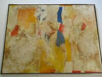 HUGE PAINTING LARGE ABSTRACT NON OBJECTIVE SIGNED JUAN SANCHEZ? MODERNIST 1960'S
