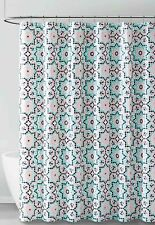 Coral Aqua Black Geo Design PEVA Shower Curtain Liner Odorless Eco-Friendly