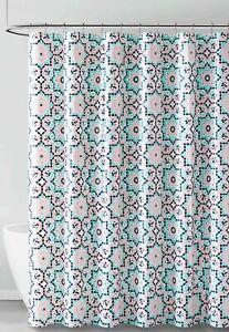 Coral Aqua Black Geo Design PEVA Shower Curtain Liner Odorless Eco-Friendly