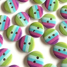 10 x cute summer stripe buttons, green, blue and purple stripes, 15mm buttons