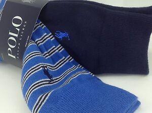 Men's RALPH LAUREN POLO Blue Striped COTTON Crew Socks - 3 PACK - $36 MSRP