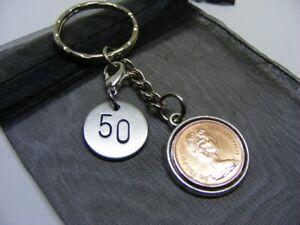 1971 Half Pence Coin & Number 50 Charm Keyring - Nice 50th Birthday Gift