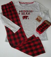 NWT Dearfoams Gray/Red/Black MOMMA BEAR Soft Pajama Set + Socks BUFFALO CHECK L