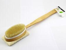 CRT Natural Boar Bristles Shower Body Brush & Loofah Scrubber Dry Skin Brushing