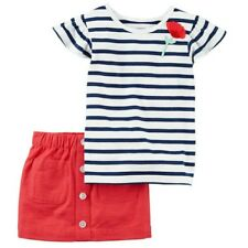 NWT Carter's Striped Flower Top & Scooter Skort Outfit Size 5T