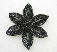 FW199-9 Black Petal Flower Floral Sequined Beaded Applique Motif Sew On 2pcs