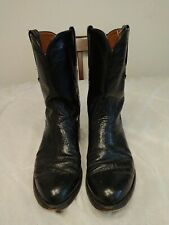Lucchese mens 9 D black smooth ostrich roper western cowboy boots #L8008