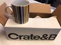 Crate & Barrel Multi Color Striped Coffee or Tea Mug - NEW Lot Of 2