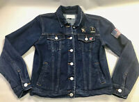 Womens Blue Jean Jacket Patches Kendall & Kylie Denim Heck Yeah Sz S