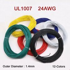 24AWG Flaxible Stranded Electronic Wire UL1007 PVC Cable O.D 1.4mm 12-Colors