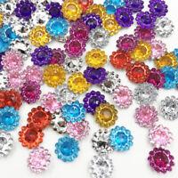 100pc Mix Rhinestones Flower Flat Back Acrylic Gems Crystal Stones Sewing Beads