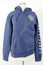 ABERCROMBIE & FITCH MEN APPLIQUE LOGO FULL ZIP BLUE HOODIE SIZE S NWT