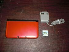 Nintendo 3DS XL Red Model w Charger Mario Sonic Game Tested Works *Nice Screen*