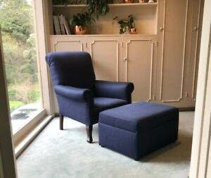 Navy occasional chair and footstool