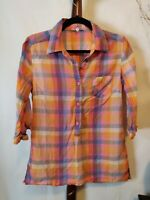 Maurices womens L top multicolor square pattern collar button up 3/4 sleeves EUC