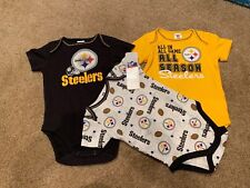 Pittsburgh Steelers NFL Infant Boys' 3-Pack Short-Sleeve Bodysuits ~ Mixed Sizes