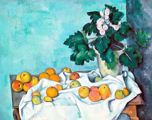 Still Life with Apples and a Pot of Primroses by Paul Cezanne A2+ Art Print