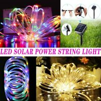 LED Solar Power String Fairy Light Rope Tube 100/200 Lamp Garden Yard Xmas Party