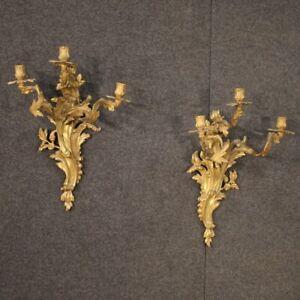 Coppia di applique in bronzo dorato stile antico Luigi XV 3 luci vintage 900