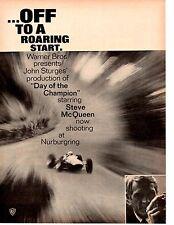 "1966 STEVE McQUEEN ""DAY OF THE CHAMPION"" MOVIE ~ ORIGINAL PRINT AD"