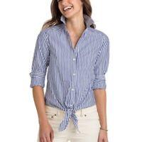 Vineyard Vines Tie Front Shirt Top Women Blue White Button Front Sz 12