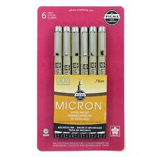 Sakura 50032 Pigma Micron 003 Sepia Ink 6 Pens Fine Sketch Draw Art Craft NEW!