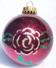 "KREBS MERCURY GLASS GLITTER ROSE CHRISTMAS ORNAMENT 3"""