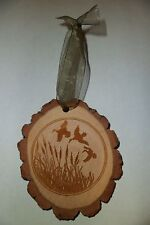 RUSTIC WOOD FLYING DUCKS AND CATTAILS CHRISTMAS ORNAMENT