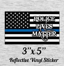 "Cop Flag Plm Police Lives Matter Reflective Vinyl Sticker 3"" X 5"""