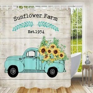 Teal Pickup Truck Sunflower Wood Barn Floral Farmhouse Fabric Shower Curtain