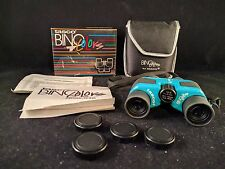 Vintage BinoColors by Tasco BLUE Binoculars 7x21 Porro Prism-w/ Case & Box-Japan