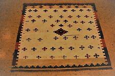 Ci 1920s Antique Rare Prsian Shraz Qshkai Sofreh Kilim Flat Woven Rug 3.9x4.2