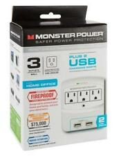 Monster Power EXP 650 USB Wall Tap Surge Protector - 3 Outlets w/ 2 USB Ports
